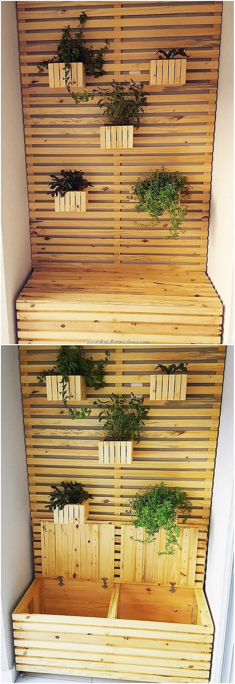 Pallet Planter with Storage