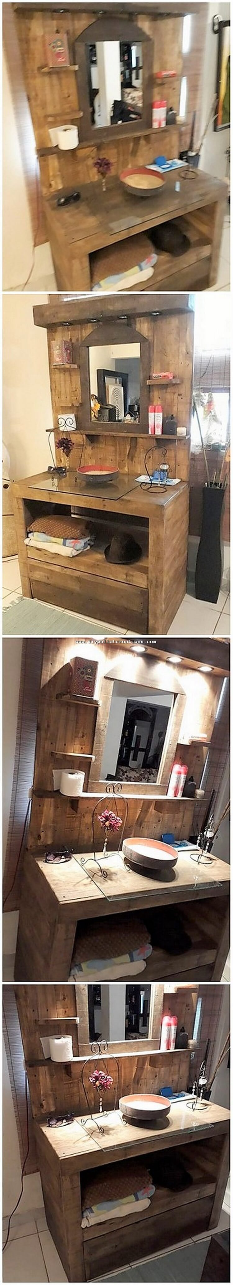 Pallet Sink with Mirror and Cabinet