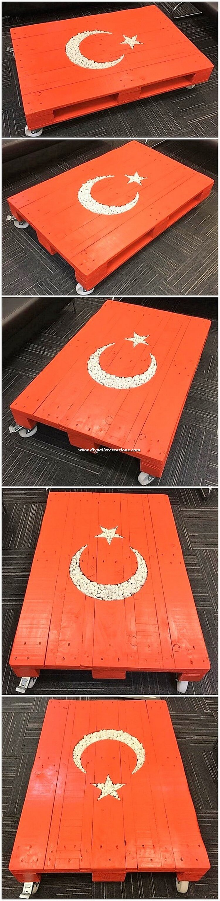 Turkish Flag Top Pallet Table