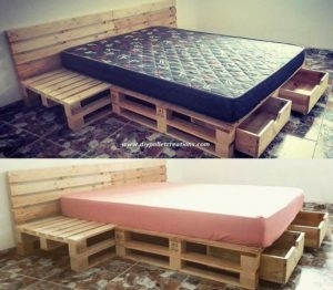 Wood Pallet Bed with Drawers