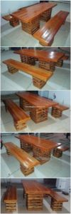 Wood Pallet Table and Benches