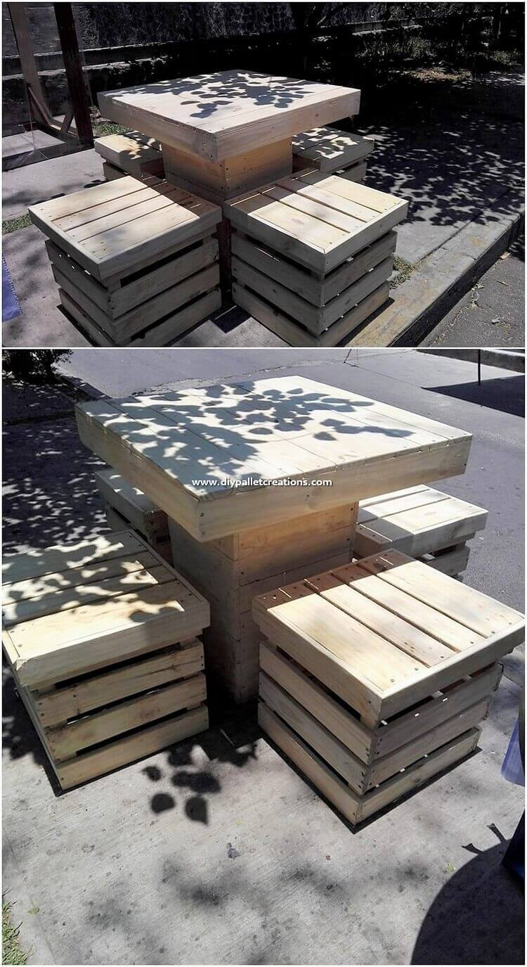 Wood-Pallet-Table-and-Stools