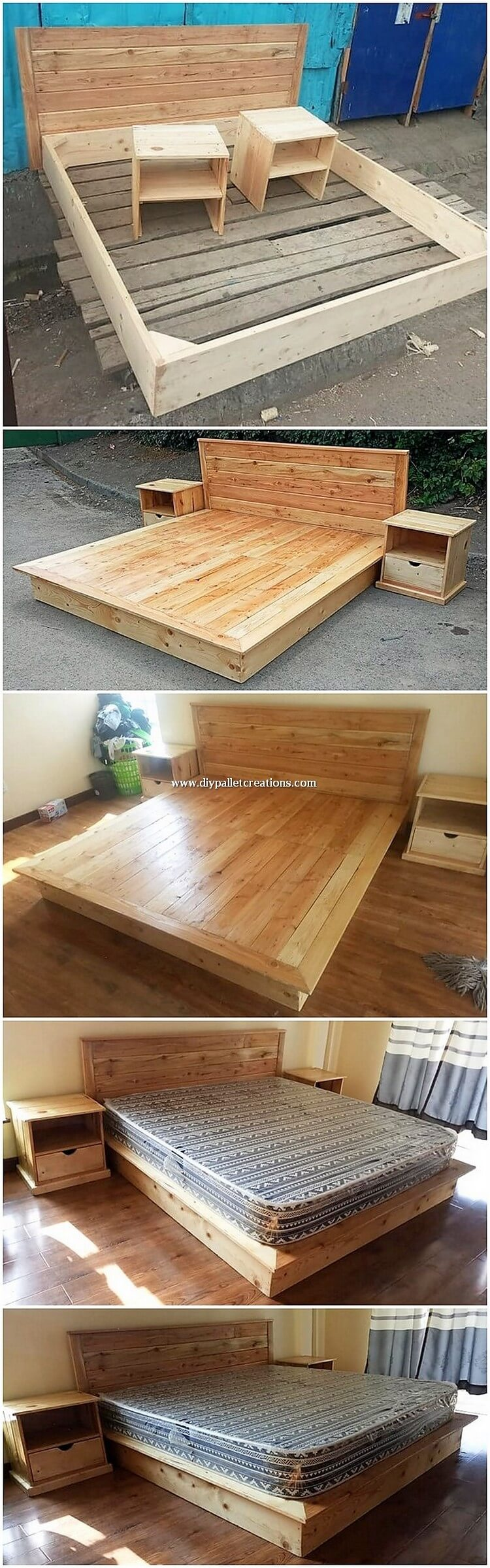 DIY Pallet Bed and Side Tables