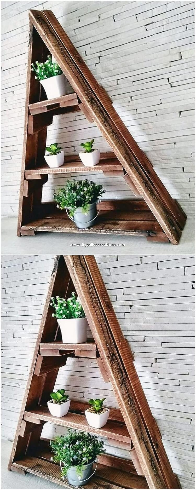 Pallet Planter Pots Shelf