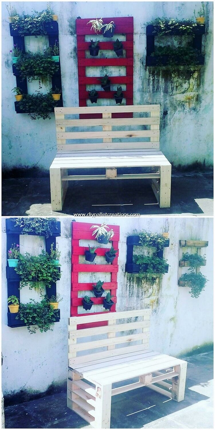 Pallet Wall Planters and Bench