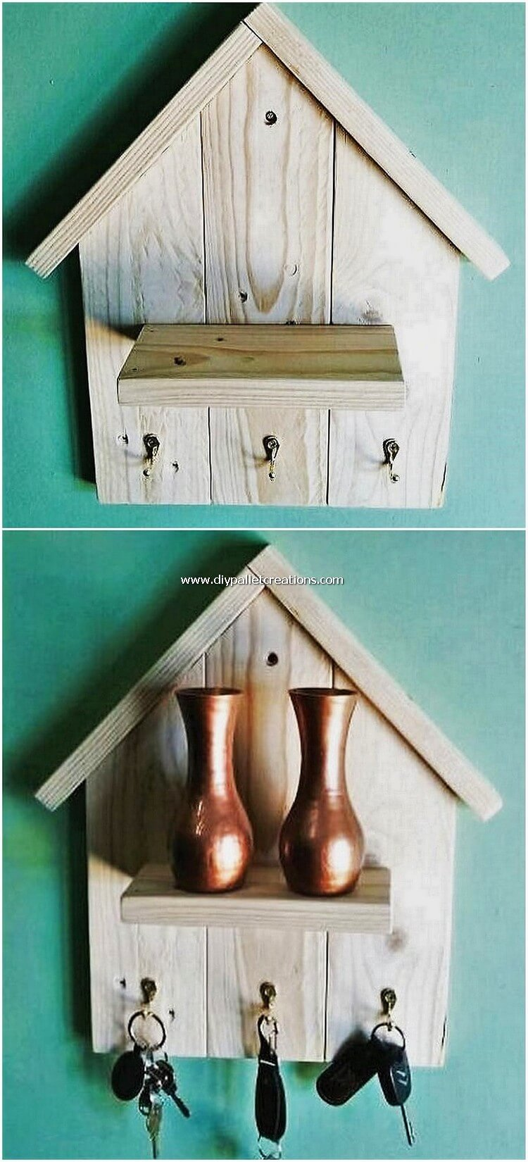 Pallet Wall Shelf with Key Holder
