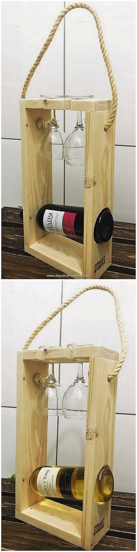Pallet Wine Bottle Holder