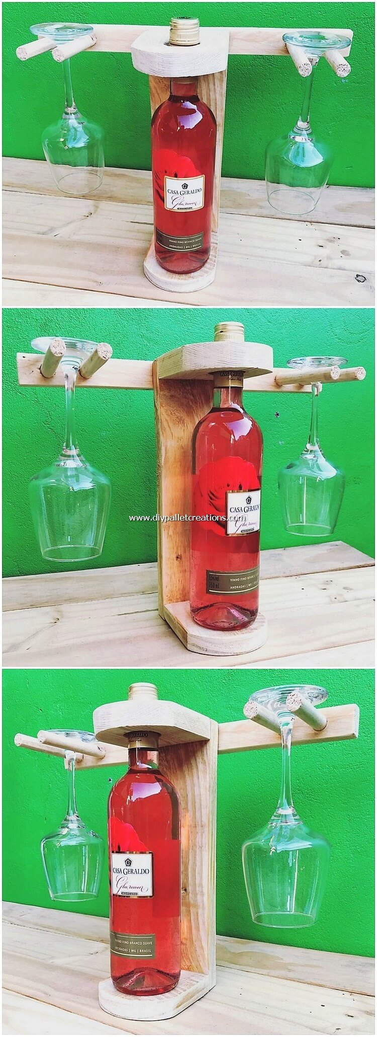 Pallet Wine Bottle Rack and Glass Holders