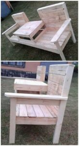 Pallet Attached Chairs with Center Table