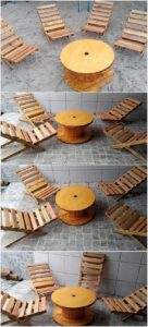 Pallet Chairs and Round Top Tbale