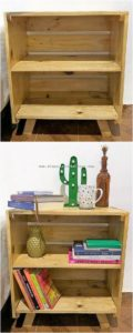 Pallet Side Table with Bookshelf