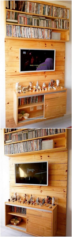 Pallet Wall LED Holder with Bookshelving