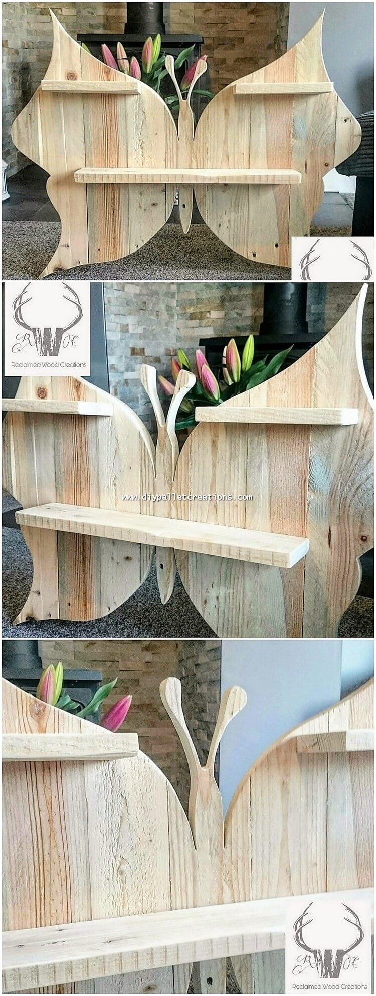 Pallet Butterfly Wall Shelf