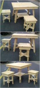 Wood Pallet Table and Stolls
