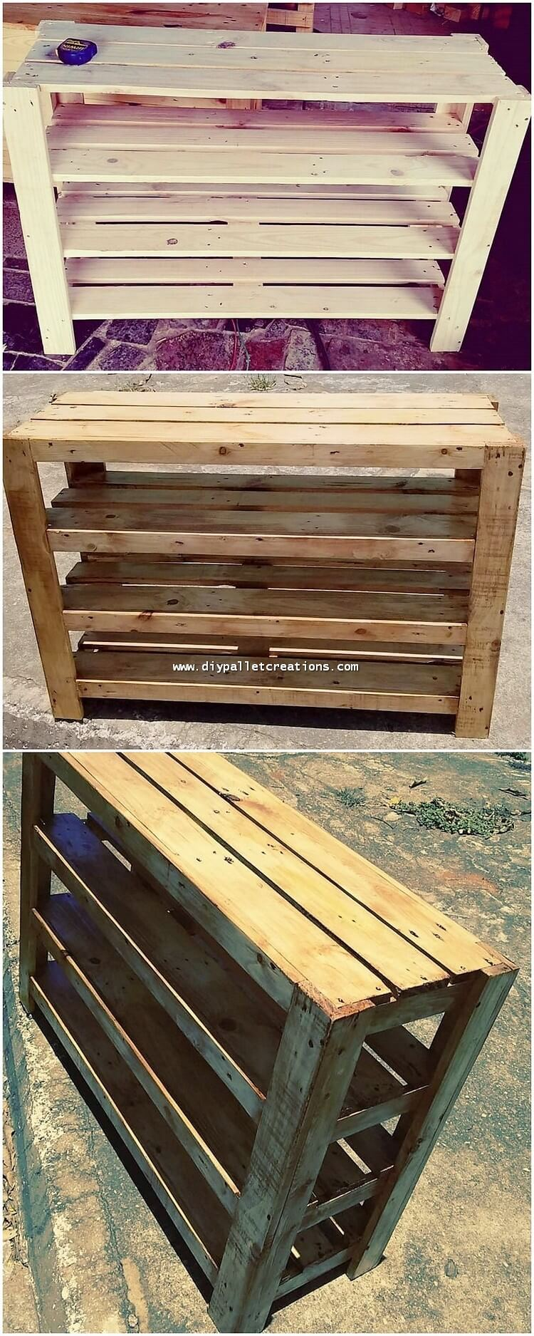 Wooden Pallet Shelving Table