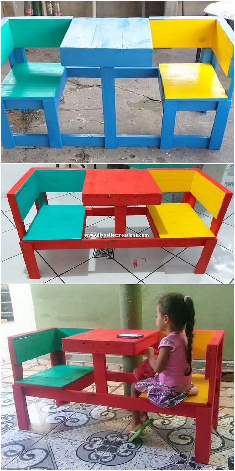 Pallet Chairs with Table for Kids