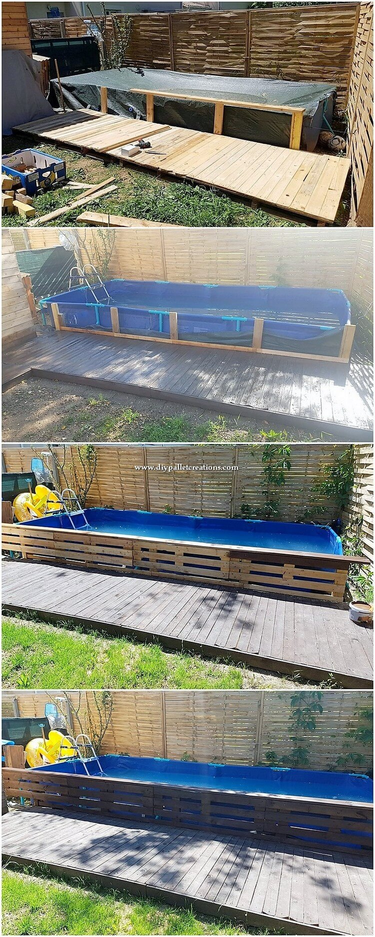 DIY Pallet Swimming Pool Deck