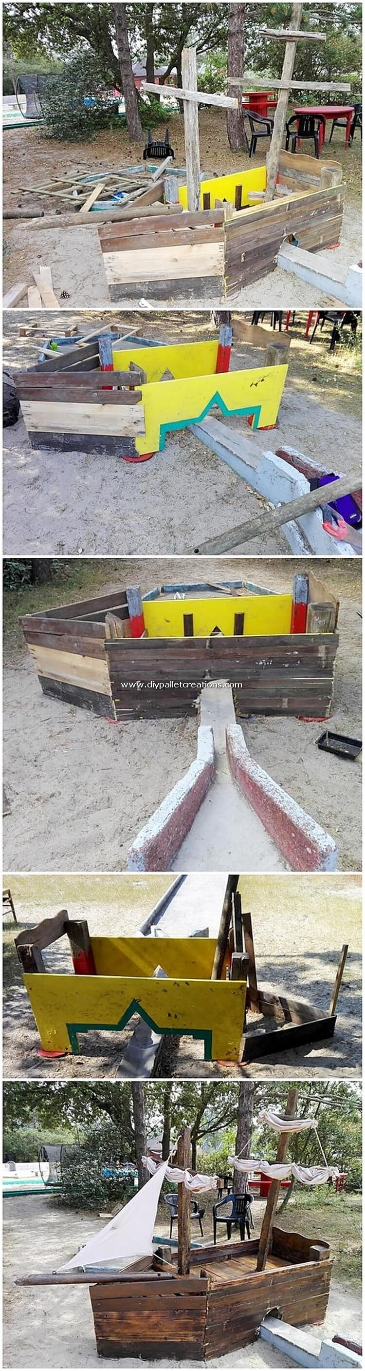 Pallet Boat for Garden Decor