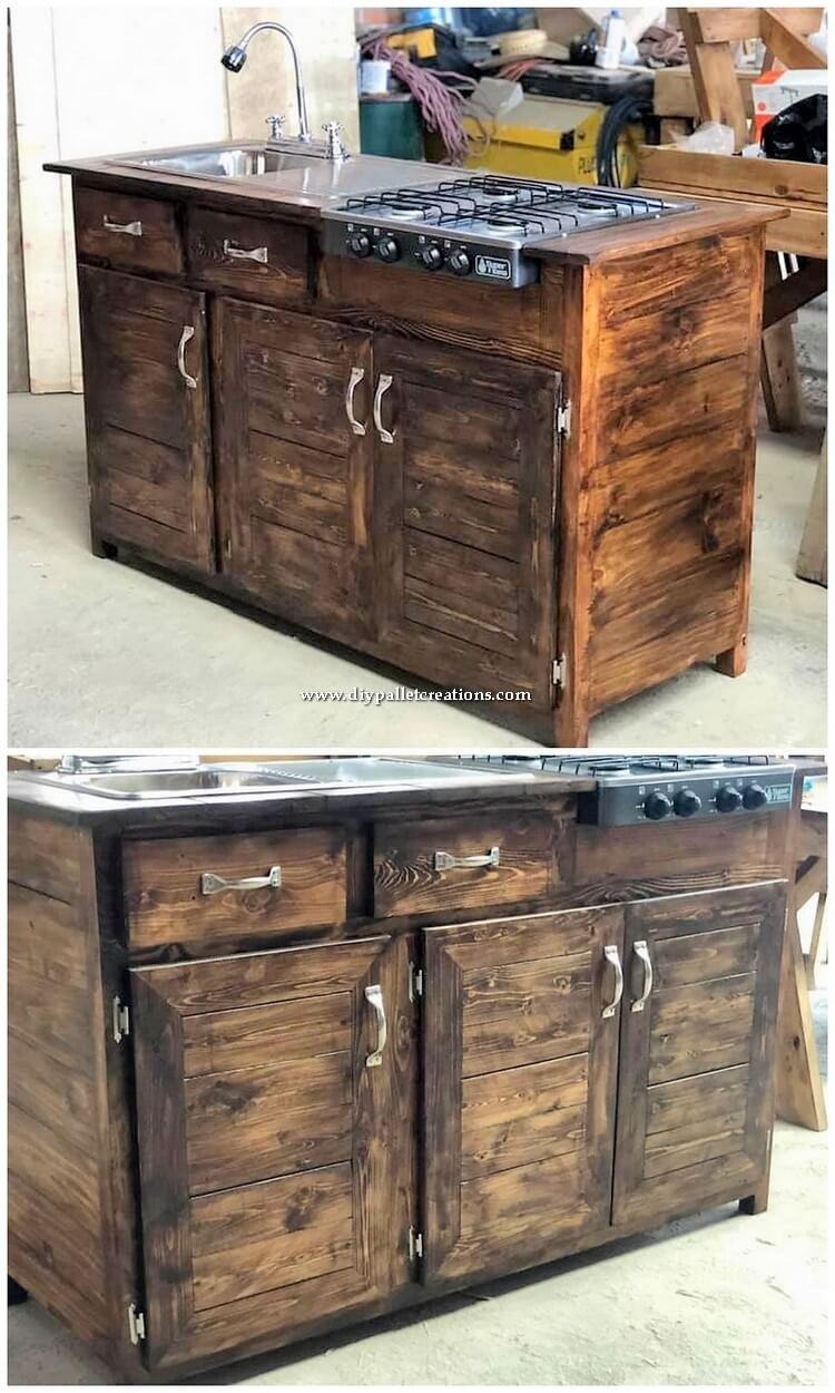 Pallet Kitchen Sink with Cabinets