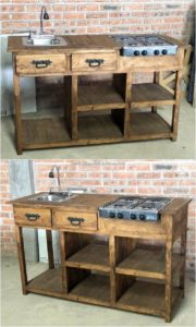 Pallet Stove Stand with Sink