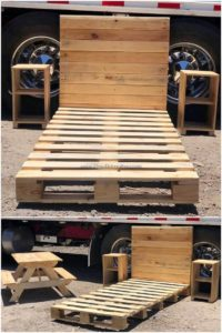 Wood Pallet Bed and Side Tables