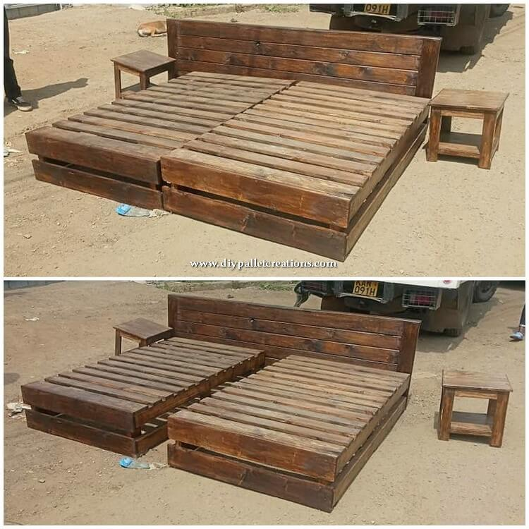 Wooden Pallet Bed and Side Tables