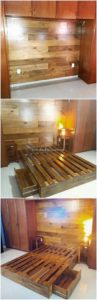Pallet Wall Paneling and Bed