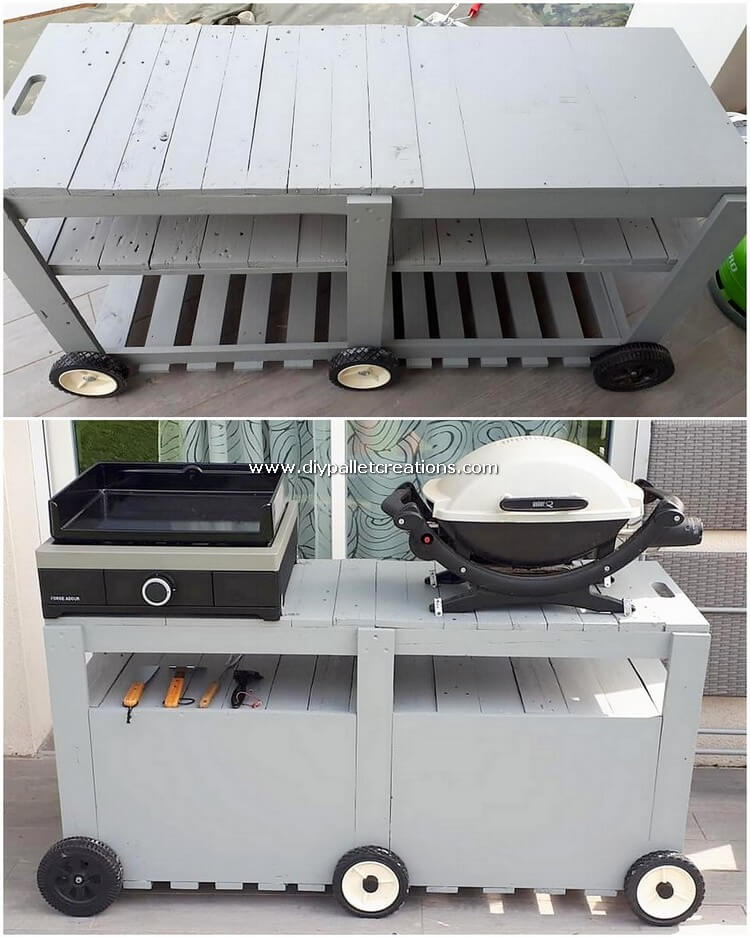 Pallet Grill Table on Wheels