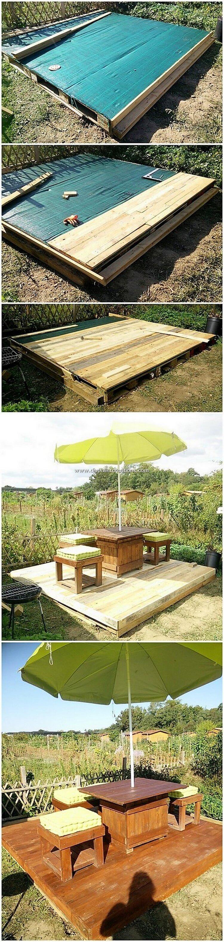 DIY Pallet Garden Terrace with Furniture Set