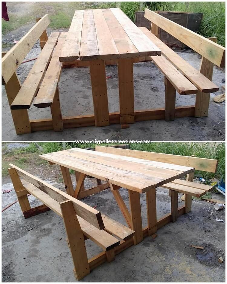 Pallet Wood Benches and Table