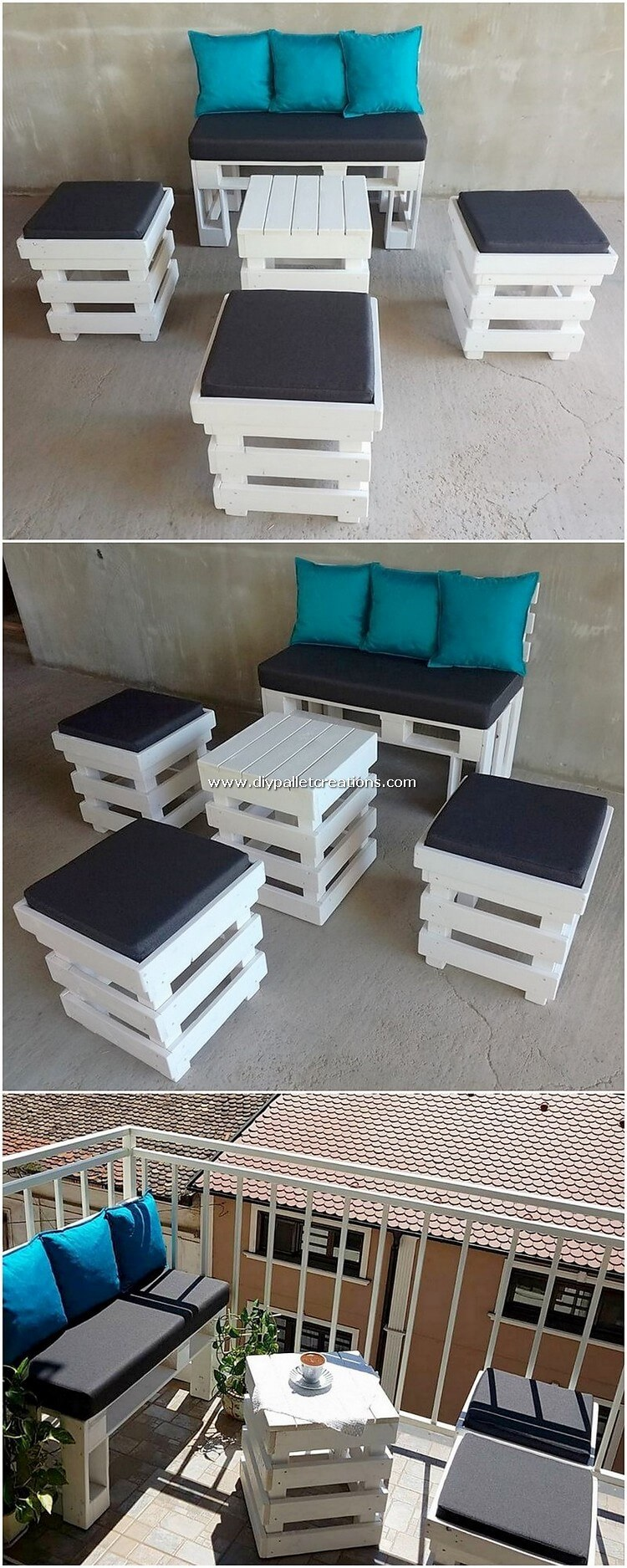 Pallet Bench Table and Stools
