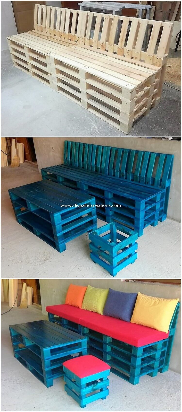 Pallet Bench or Couch and Table