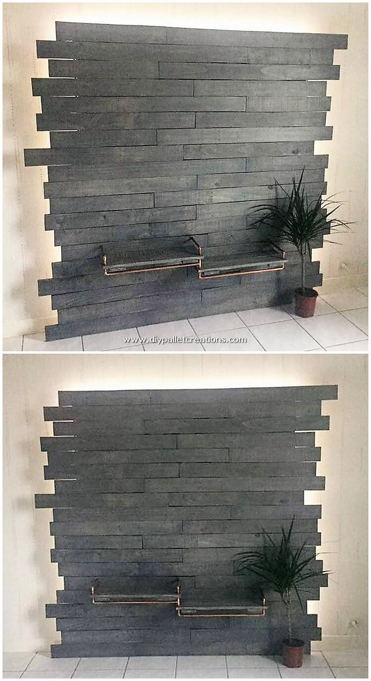 Pallet Wall LED Holder with Media Unit
