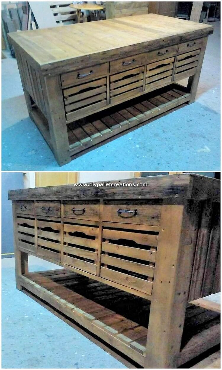 Pallet Wood Table with Drawers